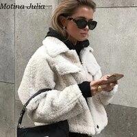 Motina Julia Pockets faux fur lamb coats women Autumn winter warm short jacket coat female Casual cool elegant outerwear