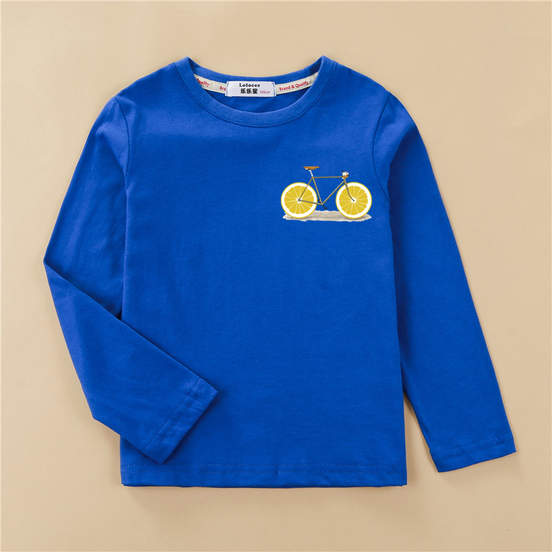 Funny Lemon Bike Kids Tees Long Sleeve Autumn Clothing Boy Cotton T-shirt Fashion Home Tops Girl Fruit Design Print Shirt 2