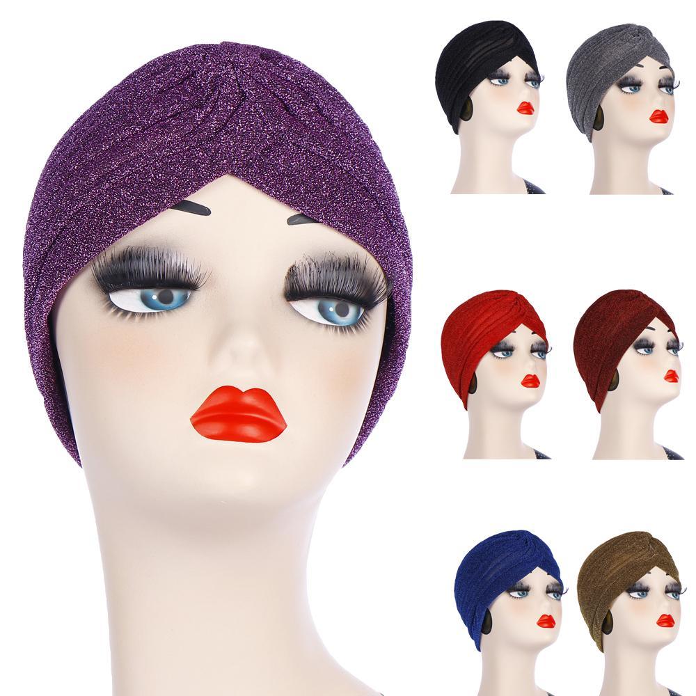 Turban Cap Plain Shiny Shimmer Glitter Sparkly Indian Hats Muslim Hijab Women Chemo Caps Headscarf Hair Loss Cover Bonnet Beanie