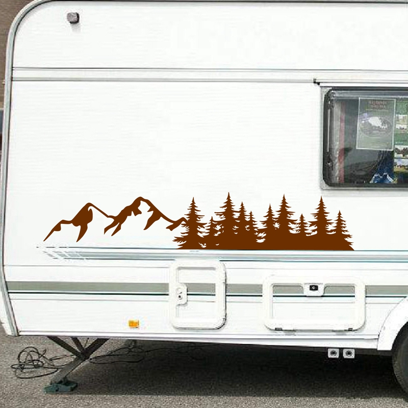 For SUV RV Camper Offroad Tree Forest Car Decor Nature Scene Mountain Decal Woodland Timber Car Vinyl Art Sticker Decoration(China)
