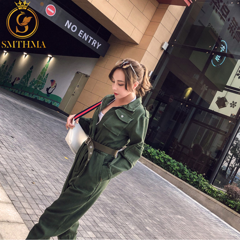 Sexy Jumpsuit Women Romper Long Sleeve Belt ArmyGreen Winter Autumn Jumpsuit Female 2019 Streetwear Overalls