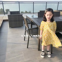 Summer short-sleeved printed flower dress girl bubble sweet little clothes yellow