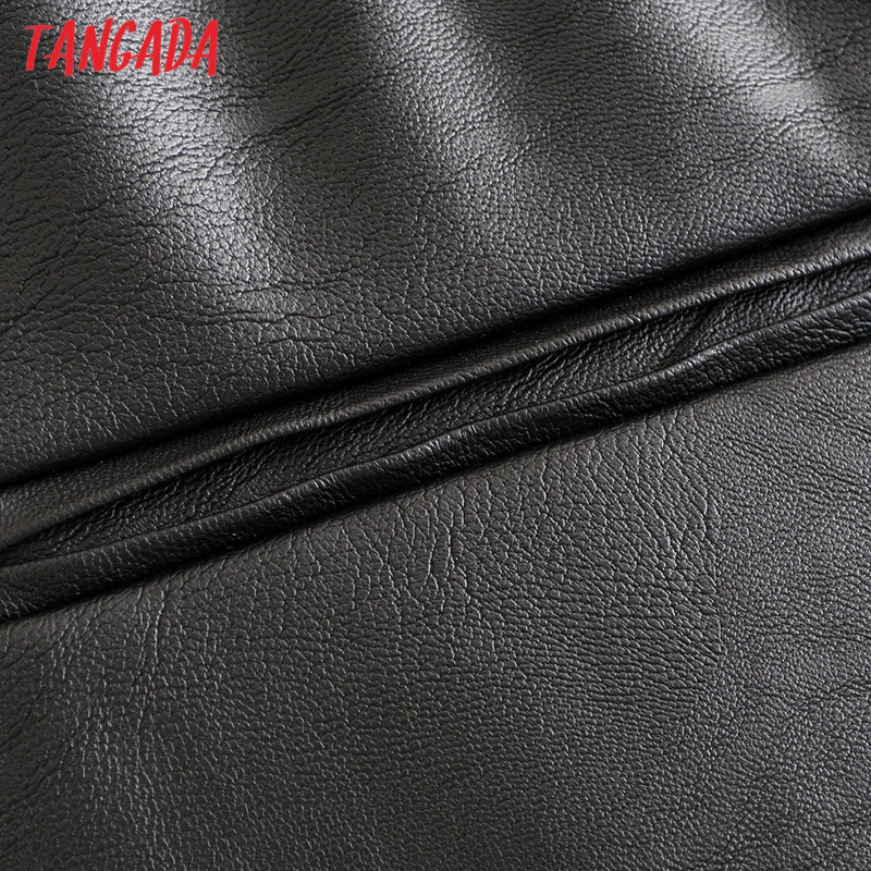 Tangada women black PU leather pants stretch waist drawstring tie pockets female autumn winter elegant trousers HY02 33