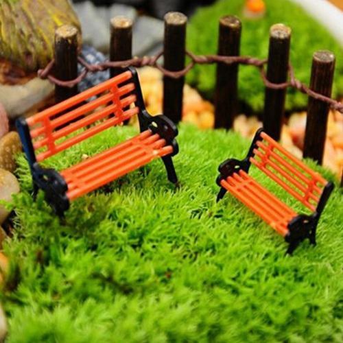 Mini Fairy Resin Garden Ornament Miniature Park Bench Craft DIY House Bonsai Figurines Landscape Bench Model Yard & Garden Decor