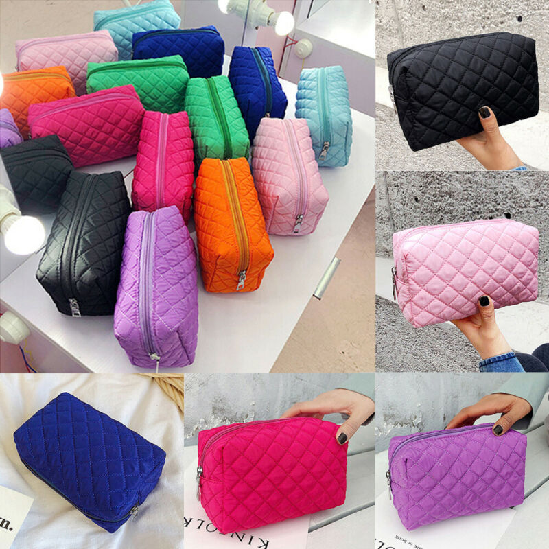 New Women's Nylon Waterproof Makeup Bag Pouch Fashion Checkered Cosmetic Bags Travel Bag Toiletry Organizer Zipper Storage Bags