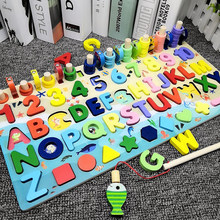 Montessori Toys for Baby Kids Math Educational Wooden Toys 5 in 1 Fishing Count Numbers Matching Digital Board Game Puzzle Toy