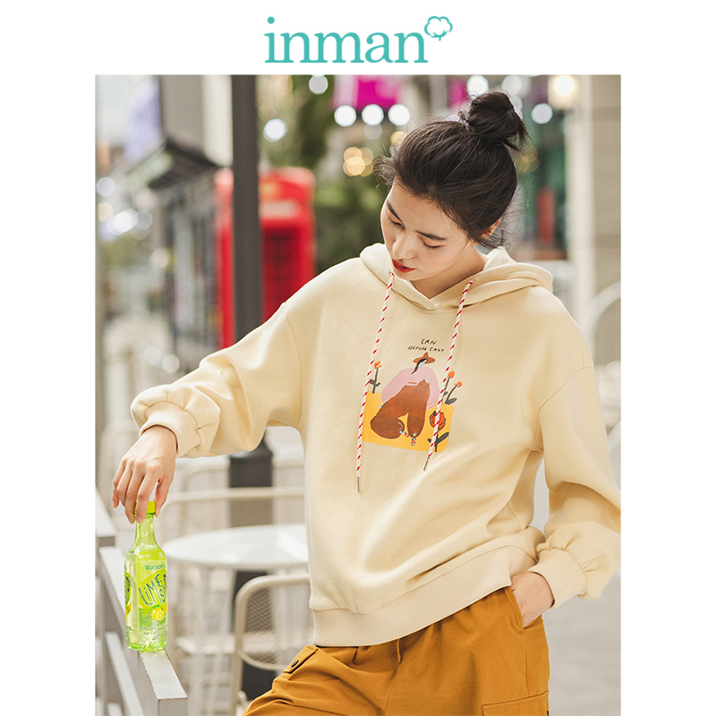 INMAN Spring Autumn Winter 100%Cotton O-neck Drop-shoulder Sleeve Loose Embroidery Literary Fashion Women Hoodies