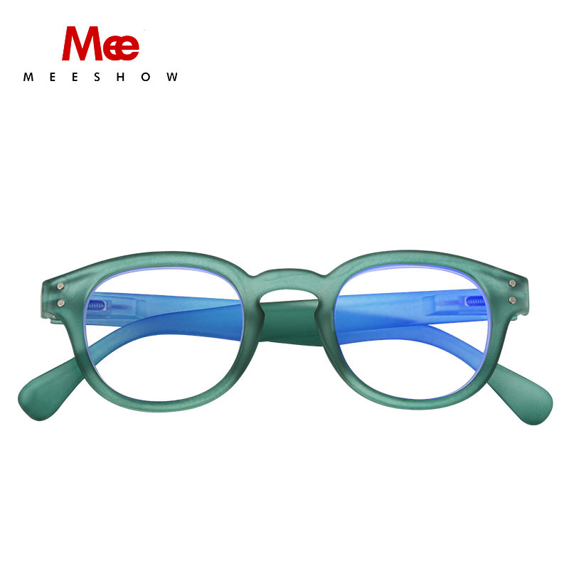MEESHOW Anti Blue Ray Reading Glasses Men Women Eye Glasses Green Round Presbyopia With Diopter French 1513 +1.5 +2.0 +2.5