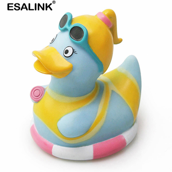 ESALINK Rubber Duck New Glasses Ponytail Baby Duck Baby Bath Toys Duck Children Toy Gift Duck Baby Toys Bath Toys For Kids peter duck