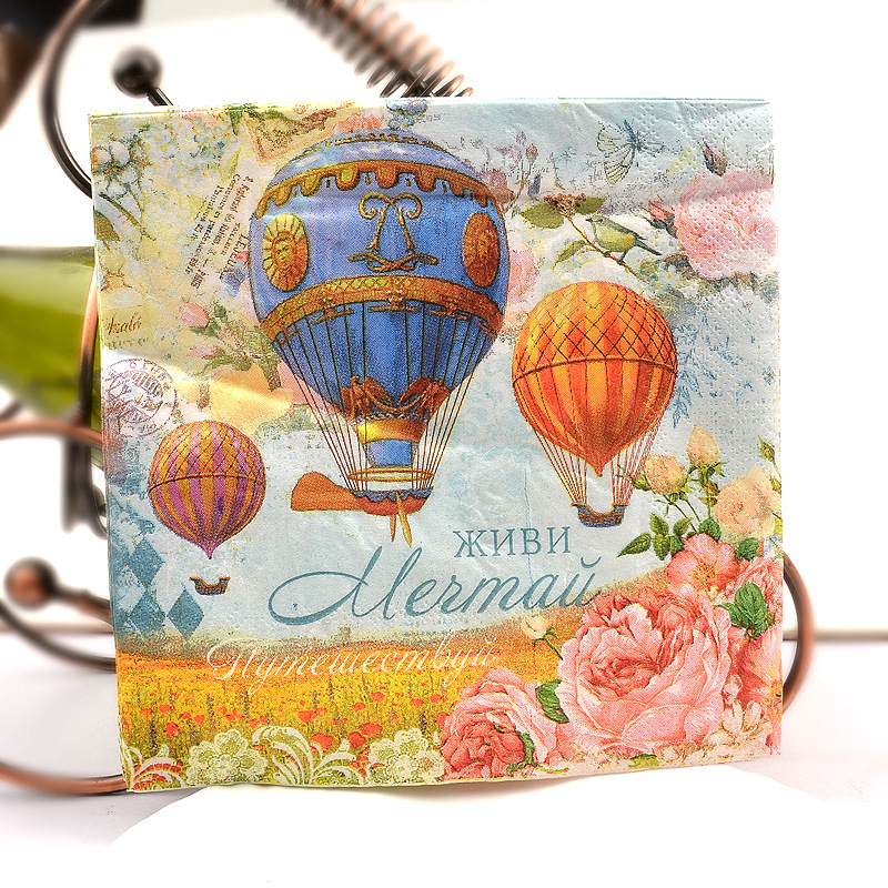 Hot-air Ballon Colored Napkin Wedding Banquet Paper Placemat Rose Wine Glass Flower Arrangement Paper Hotel Disposable Napkin Pa