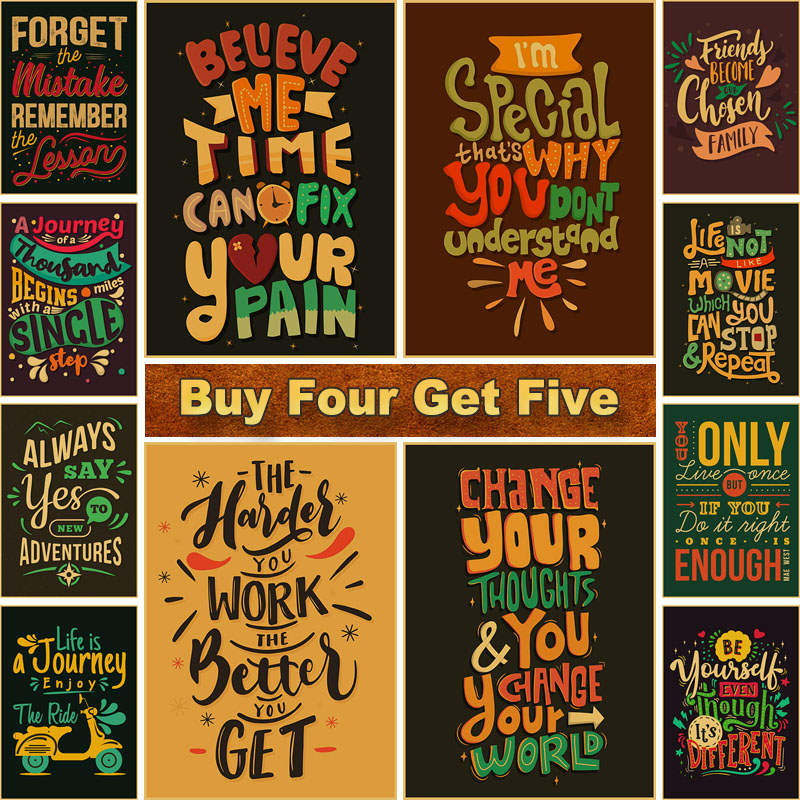 Text Art Posters Motivational Quote Wall Art Painting Picture Inspirational Poster and Prints for Living Room Bar Decoration