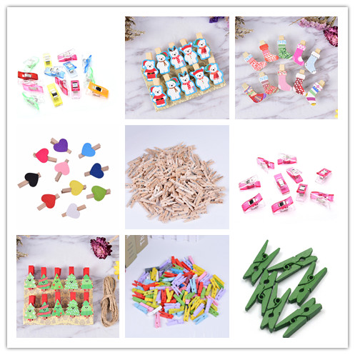 Quality Christmas Tree Mini Spring Wood Clips Clothes Photo Paper Peg Pin  Craft Clips Party Home Decoration