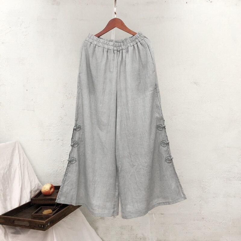 Women Embroidery   Wide     Leg     Pants   Elastic Waist Cotton Trouser 2019 Autumn New Loose Solid Color Casual Women   Pants