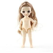 16CM Fashion Dolls Mini BJD Toys Nude Girl Body Doll Kids Boneca Enchantimal Dolls Straight Curly Hair DIY Toys For Girls Gift стоимость