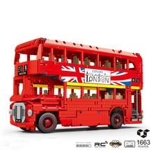 Blocs de construction de Bus à Double étage London, 1663 pièces, avec moteur, Simulation de voiture technique, ensemble de briques, jouets de bricolage pour enfants, cadeaux