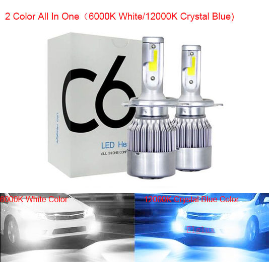Factek Auto Car H8 H11 H7 H4 H1 LED Headlights 6000K Cool White Yellow Color 72W 8000LM COB Bulbs Diodes Automobiles Parts Lamp