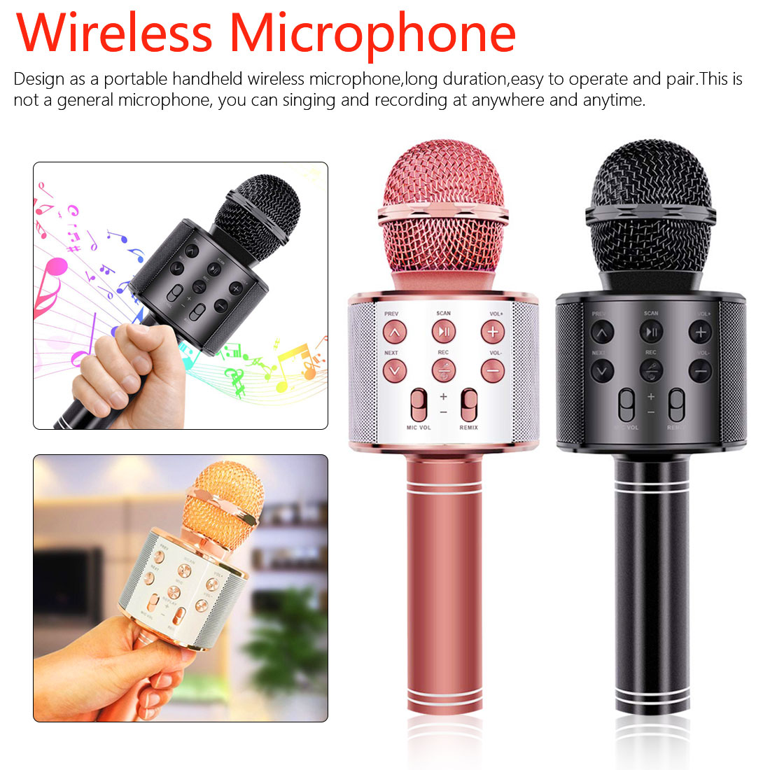 Children Karaoke Microphone Audio Wireless Bluetooth Microphone Mobile Phone Karaoke Device Live Artifact