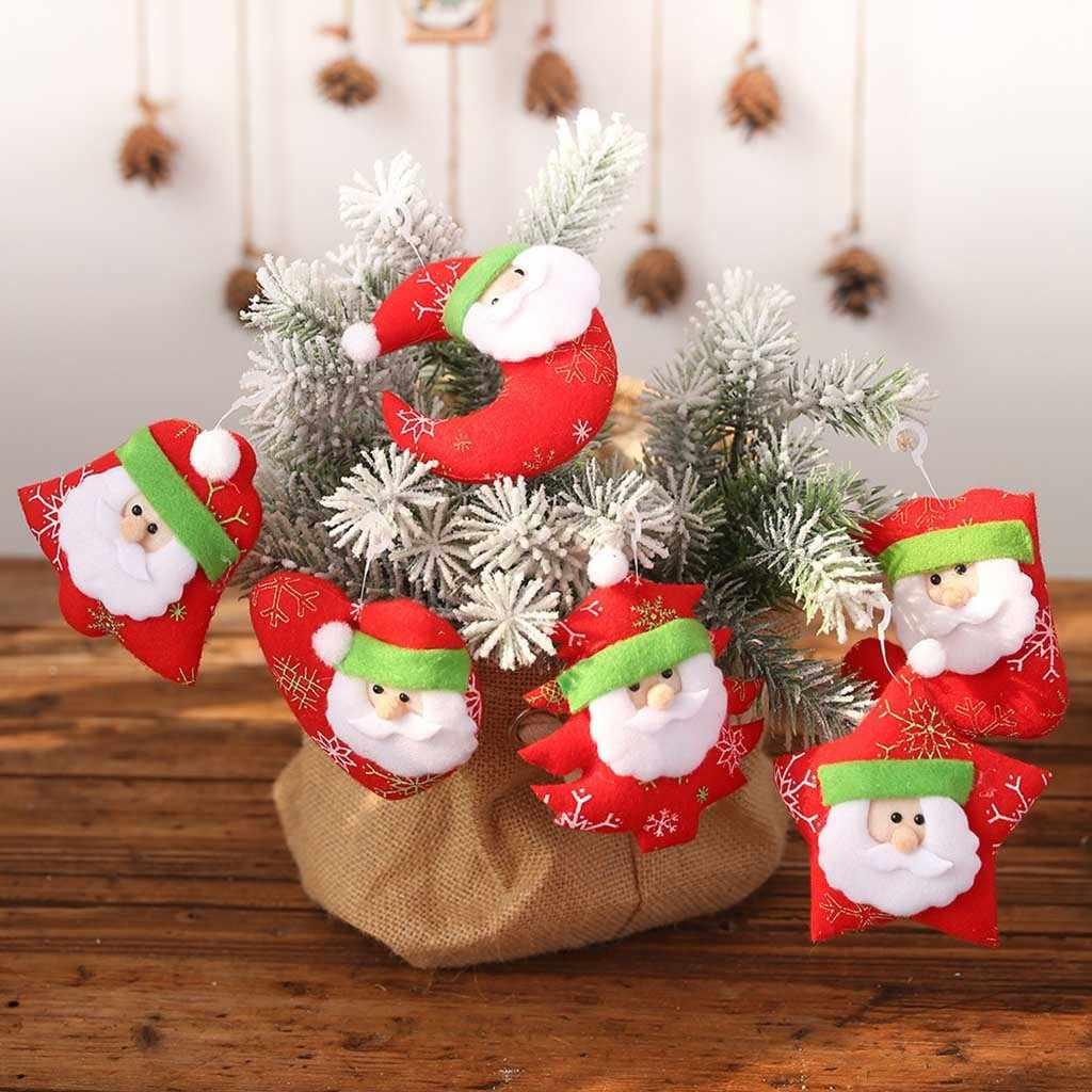 Albero Natale Decorato Rosso 6pcs rosso sveglio di angelo bambola decorazioni di natale del pendente  albero di natale appeso ornamento di natale decorati per la casa di natale