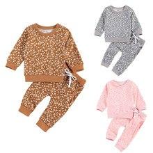 Infantil 2 pces roupas conjunto, bebês floral impresso padrão gola redonda + calças compridas, caqui/rosa/cinza