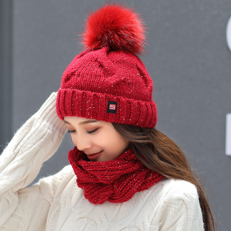Fashion Wool Winter Hat And Scarf Set For Women Thicken Warm Beanies Hat Scarf Female For Girls Pom Pom Beain Hats Solid Color