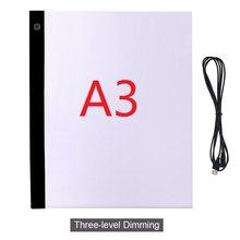 A3 tablette à dessin 3 niveaux, planche légère de peinture diamant, tablette de copie d'art USB écriture croquis traçage planche de copie