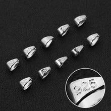 50 pçs/lote 925 prata esterlina bale pitada fecho prata cor fiança pingente conector para diy colar fazer descobertas