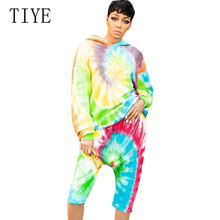 TIYE Two Pieces Sets Womens Fashion Hooded Sweater Cropped Trousers Set Graffiti Print Playsuits Ladies Casual Retro Jumpsuits