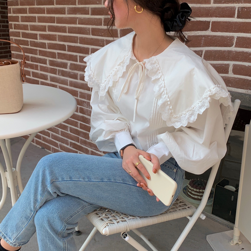 Hbf313237c22646948bfa0b6807b0f1990 - Spring / Autumn Lace-Up Collar Long Sleeves Loose pleated Solid Blouse
