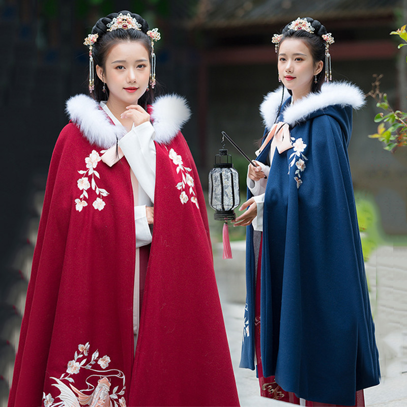 Embroidery Hanfu Cloak Women Folk Festival Rave Outfit  Ladies Autumn And Winter Overcoat Singers Performance Clothing DC3436