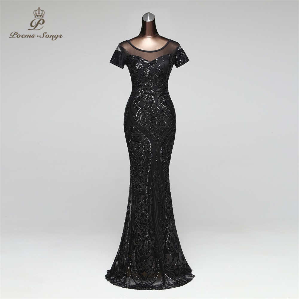 PoemsSongs Mermaid Evening Dress Prom Gowns Formal Party Dress Vestido De Festa Vintage Illusion Luxury Sequin Robe Longue