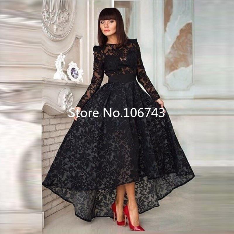 2018 Evening Gown Black Long Sleeves High Low Lace Formal Gown Vestido De Festa Robe De Soiree Women