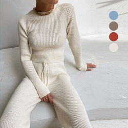 Casual Stripe Cosy Knitted Two Piece Set Home Women Long Sleeve Top Wide-Leg Pants Autumn Winter Indoor Warm Suit Home Set 2020