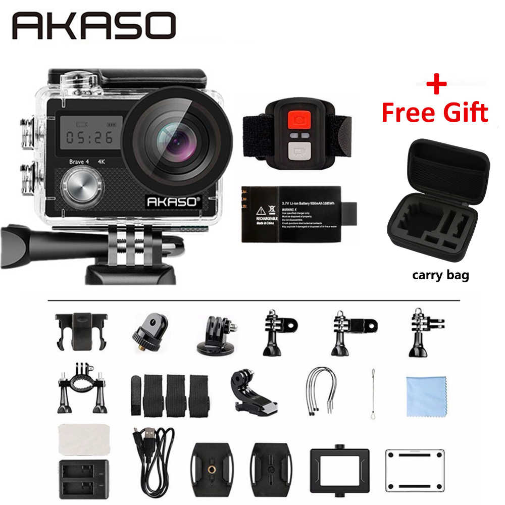 AKASO Brave 4 4K 20MP WIFI HD Action Camera Ultra HD with EIS 30m Underwater Waterproof Remote control 5X Zoom Helmet Sport cam