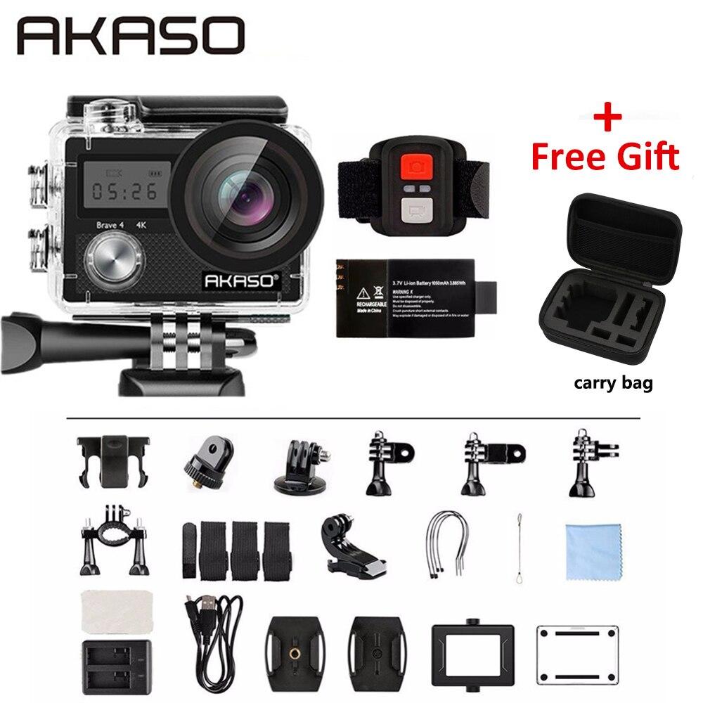 AKASO Mutig 4 4K 20MP WIFI HD Action Kamera Ultra HD mit EIS 30m Unterwasser Wasserdichte fernbedienung 5X Zoom Helm Sport cam
