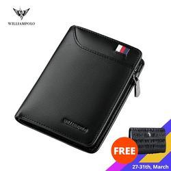 WILLIAMPOLO skórzany portfel męski z kartą mały męski portfel portmonetka portfele na zamek błyskawiczny Casual portfel standardowy PL293 w Portfele od Bagaże i torby na