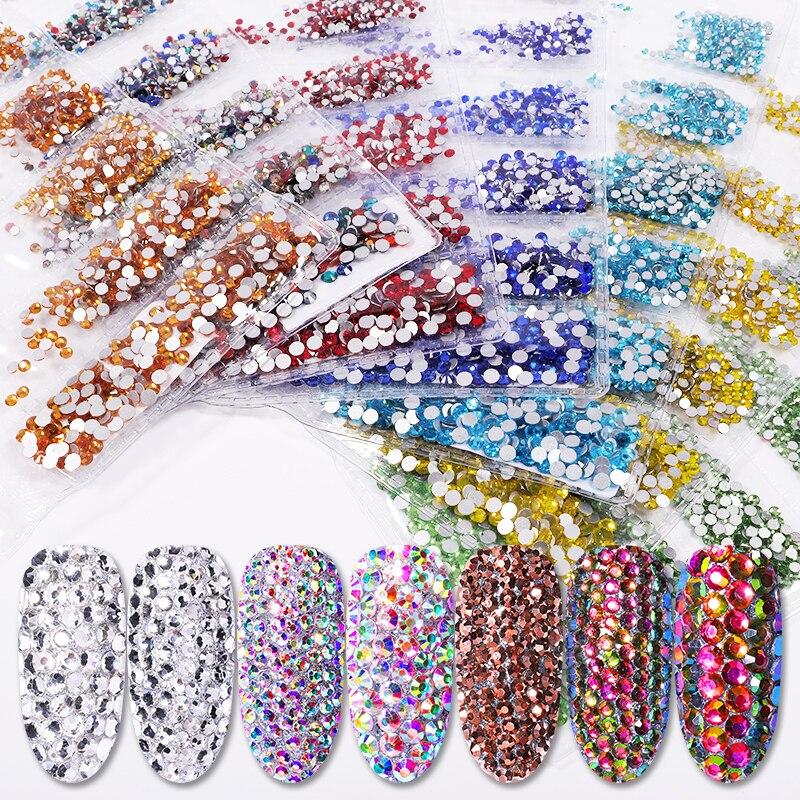 Regular AB Colorful Nail Rhinestones Flat Bottom Nail Art 3D DIY Decorations Mini-size Crystal Glass Nail Rhinestone Gems