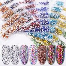 Nail-Rhinestones Crystal Glass Nail Diy-Decorations Gems AB Colorful 3D Regular Mini-Size