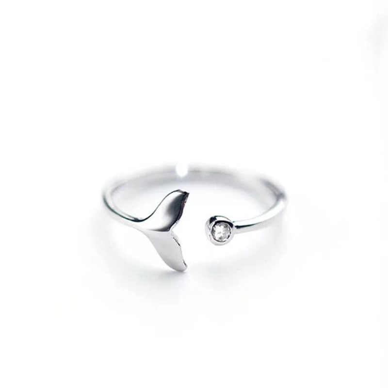 2019 biała cyrkonia typu kostka ryby regulowany srebrny pierścień bajka Dream Rings dla kobiety moda biżuteria pierścionek zaręczynowy dla kobiet