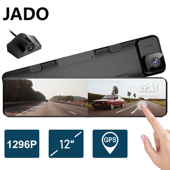 JADO 12 Inches Touch Screen Rearview Mirror Dash Cam 1296P Car DVR Stream Media Dash Cameras Front And Rear Car Camera Recorder jado d800s x5 car dvr stream rearview mirror camera ldws gps track 10 ips touch screen full hd 1080p car dvrs recorder dash cam