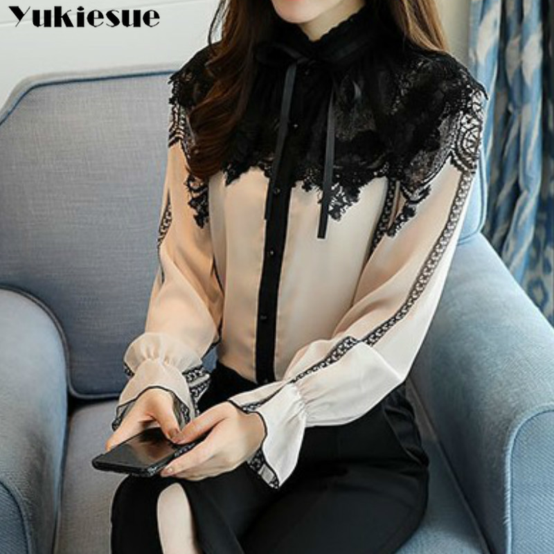2019 New Women Tops Fashion Long Sleeved Blouses Stand Chiffon Lace Patchwork Shirts Office Lady Flare Sleeve Blouses Plus Size