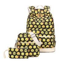 3Pcs/set Smiley Face Printing Women Backpack Large Capacity Travel Backpack Fashion Emoji School Backpacks For Teenager Bagpack