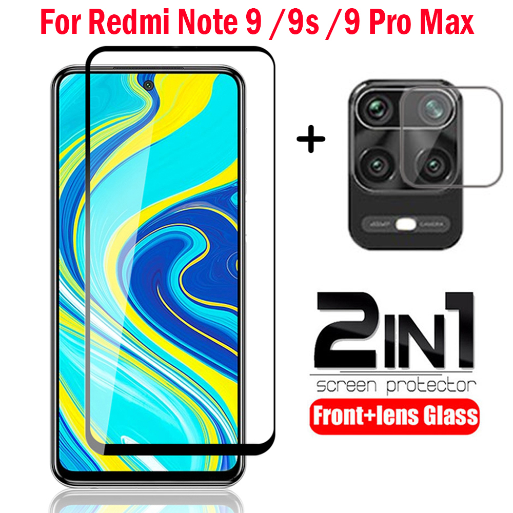 Camera Lens Film For Redmi Note 9s 9 Pro Max Tempered Glass 2-in-1 Screen Protector Glass on Redmi Note 9s Pro Max Glass(China)