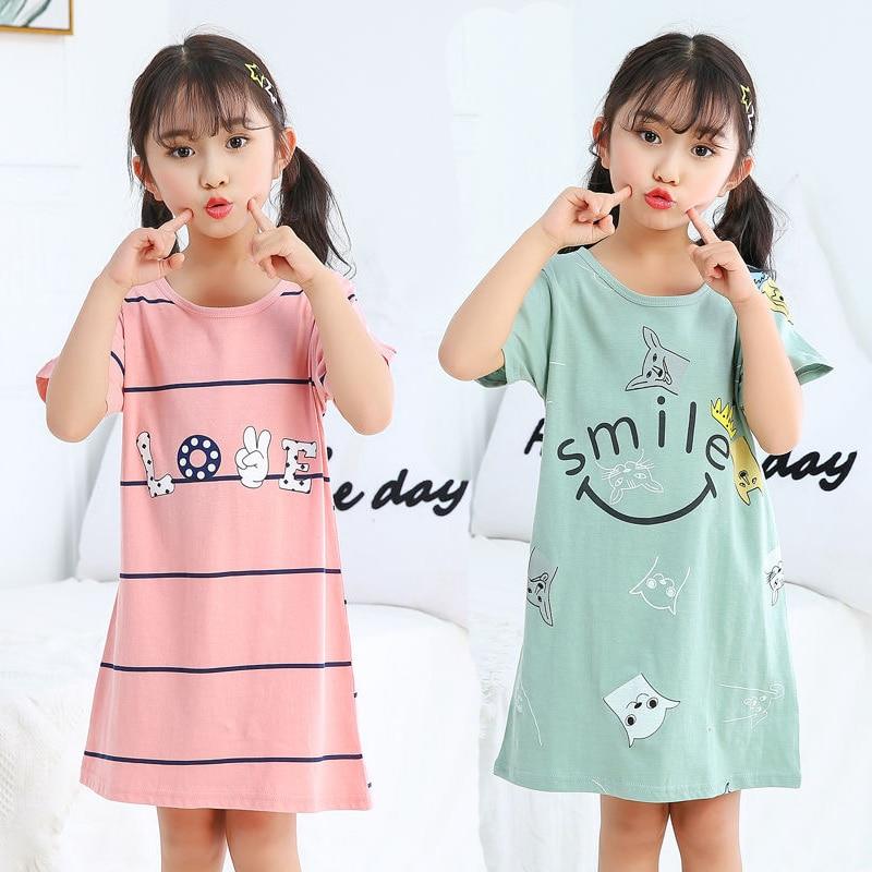 Новинка, детские ночные рубашки для девочек, 100% хлопковая ночная рубашка, летняя детская одежда, одежда для сна, ночная рубашка для больших д...