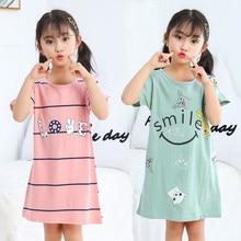 Novo crianças meninas camisola 100% algodão verão roupas de bebê sleepwear grande menina noite vestido pijamas crianças pijamas