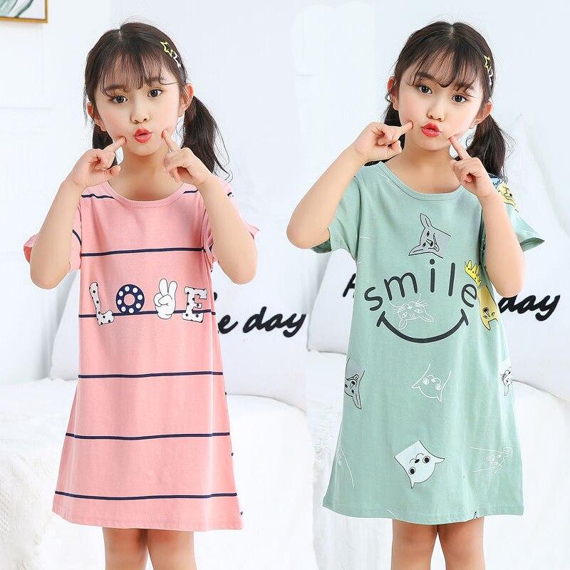New Kids Girls Nightgowns 100% Cotton Nightdress Summer Baby Clothes Sleepwear Big Girl Night Dress Sleepshirt Children Pajamas