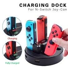 Joy-Con-estación de carga LED para consola Nintendo Switch, soporte de carga Con Cable Micro USB