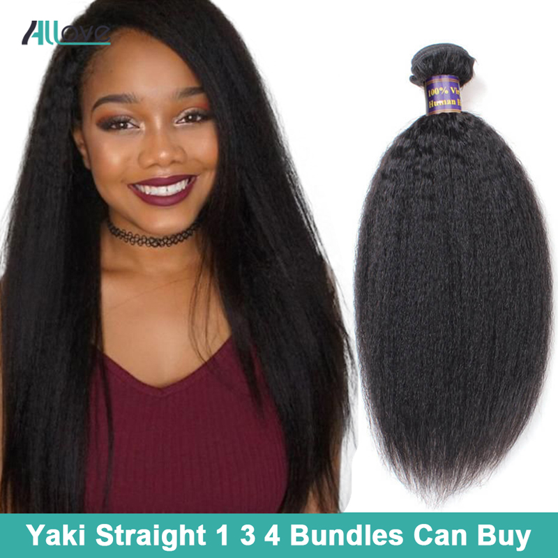 Allove Yaki Straight Hair Bundles Indian Hair Weaving Bundles 100% Human Hair Bundles Natural Color 8-28inch Non Remy Extensions