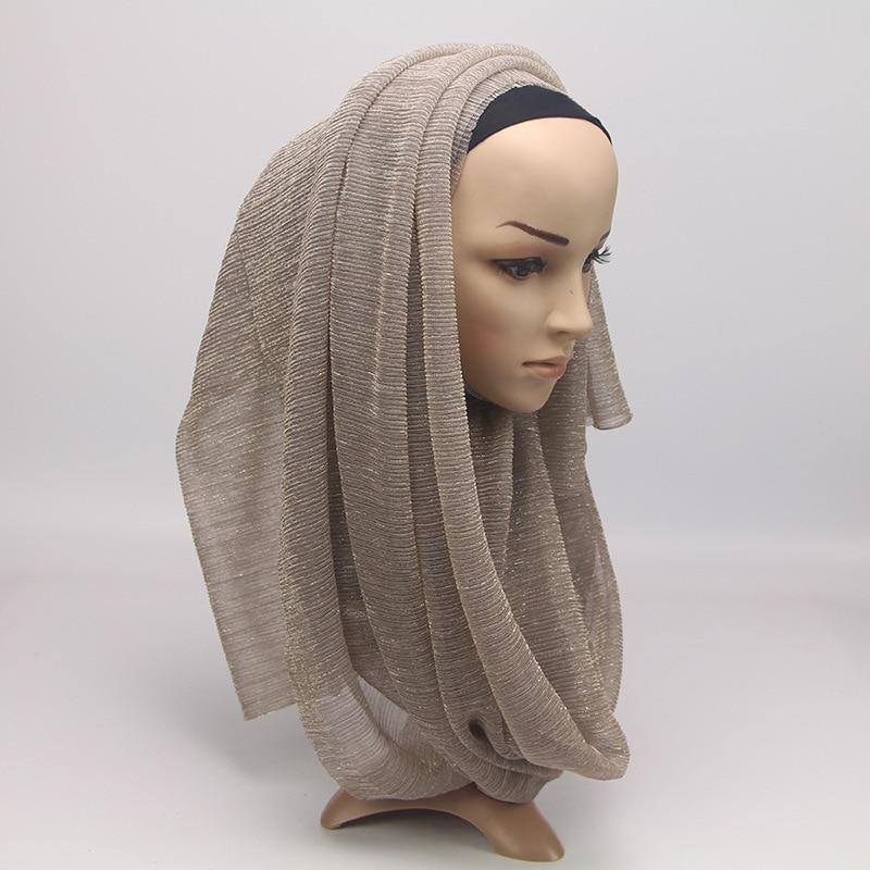 Image 3 - 2020 New Summer Ladies Gold Muslim Crinkle Wrinkle Glitter  Shimmer Hijab Scarf Shawl Women Pleated Islamic Arab Head  ScarvesWomens Scarves