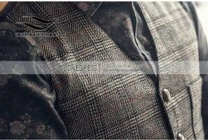 Image 2 - Новинка, серебристый клетчатый костюм, жилет для мужчин, шерстяной твидовый Повседневный облегающий жилет, брикет для мужчин, для свадьбы