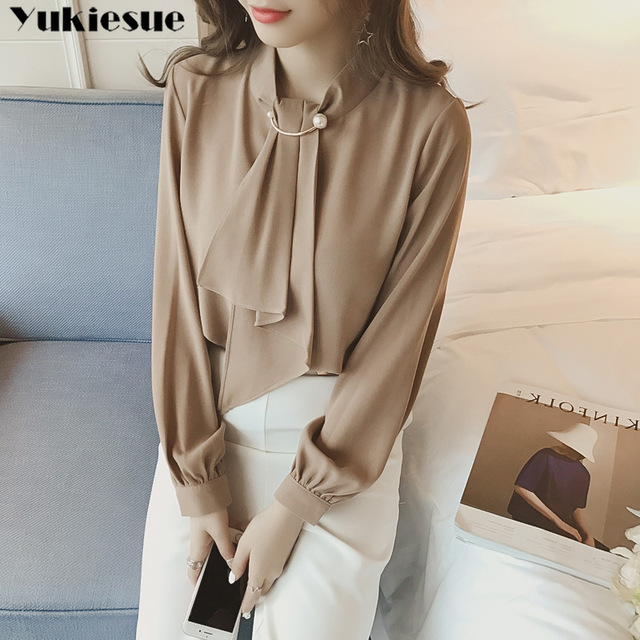 2020 summer long sleeve women's shirt blouse for women blusas womens tops and blouses chiffon shirts ladie's top plus size 3